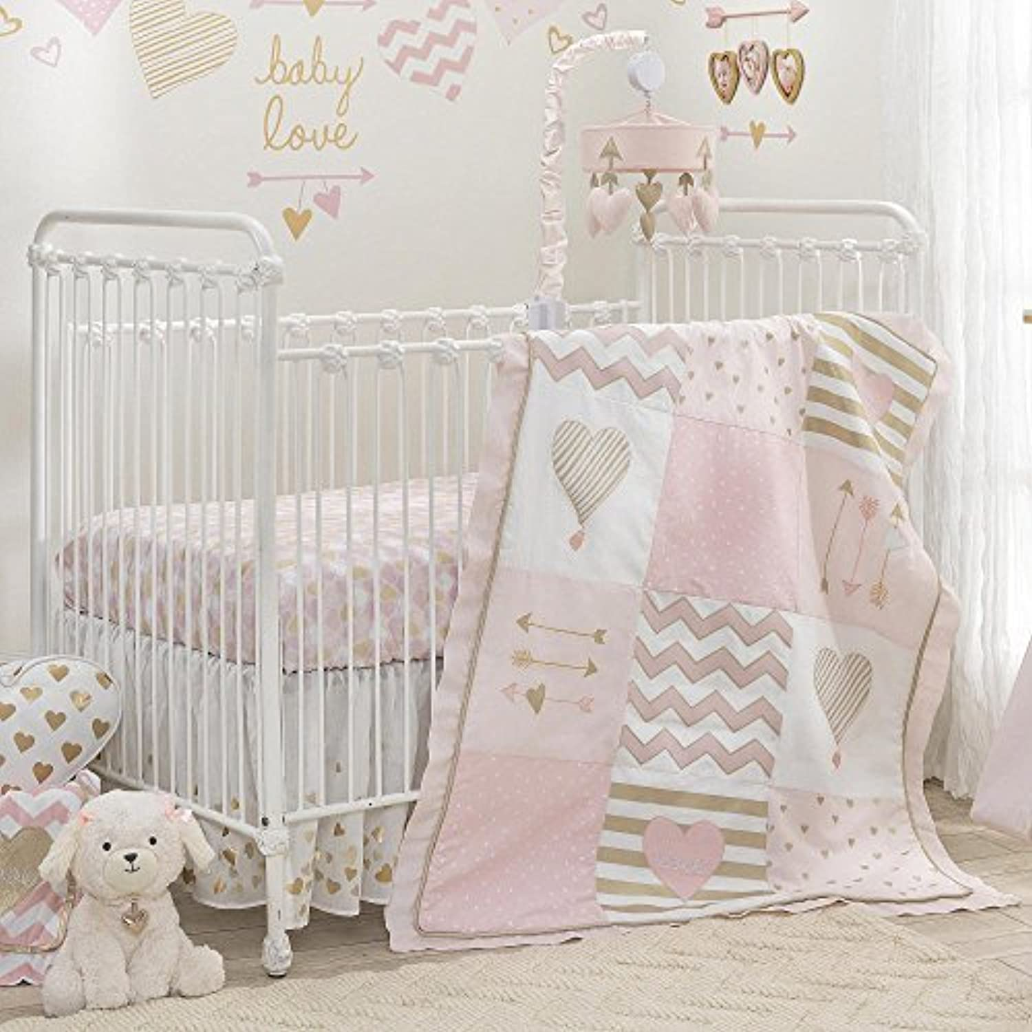 Lambs & Ivy Baby Love Pink/Gold Heart 4 Piece Crib Bedding Set [並行輸入品]