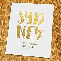 "Sydney Gold Print (Unframed), Coordination Print, Gold Foil Print, Gold Foil Art, 8x10"", TA-055G [並行輸入品]"