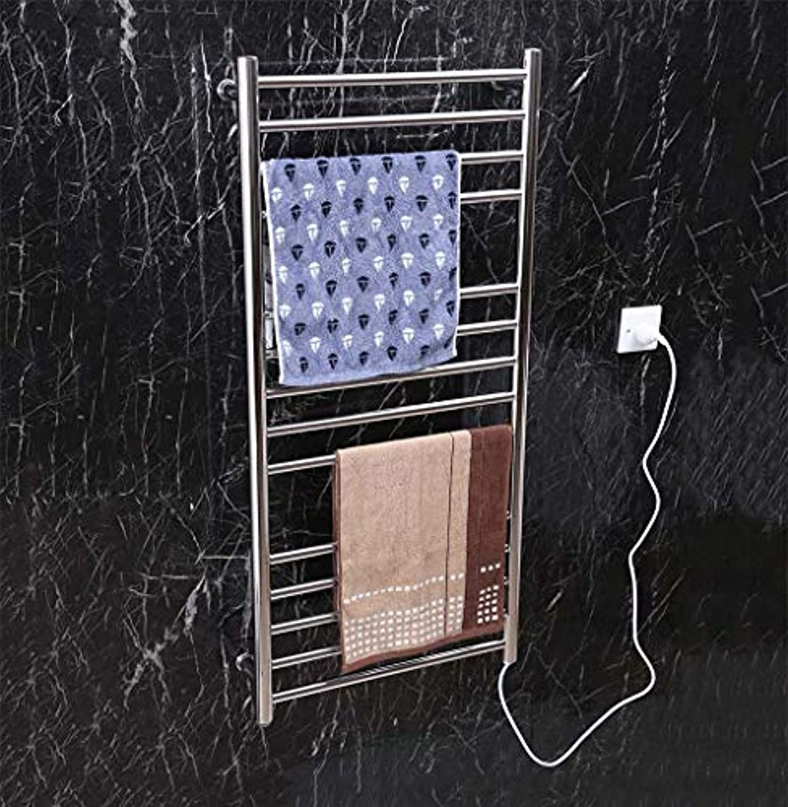 次へ構築するほこりスマート電気タオルウォーマー、304ステンレススチール壁掛け電気タオルラジエーター、家庭用ホテルのバスルームシェルフ、1100X520X120mm