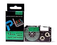 カシオ ネームランド用 互換 テープカートリッジ 12mm XR-12GN 緑地黒文字