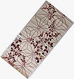 浴衣 反物 紅梅 教材用 女性用 アサノハ・萩赤柄 ベージュ・クリーム色 日本製