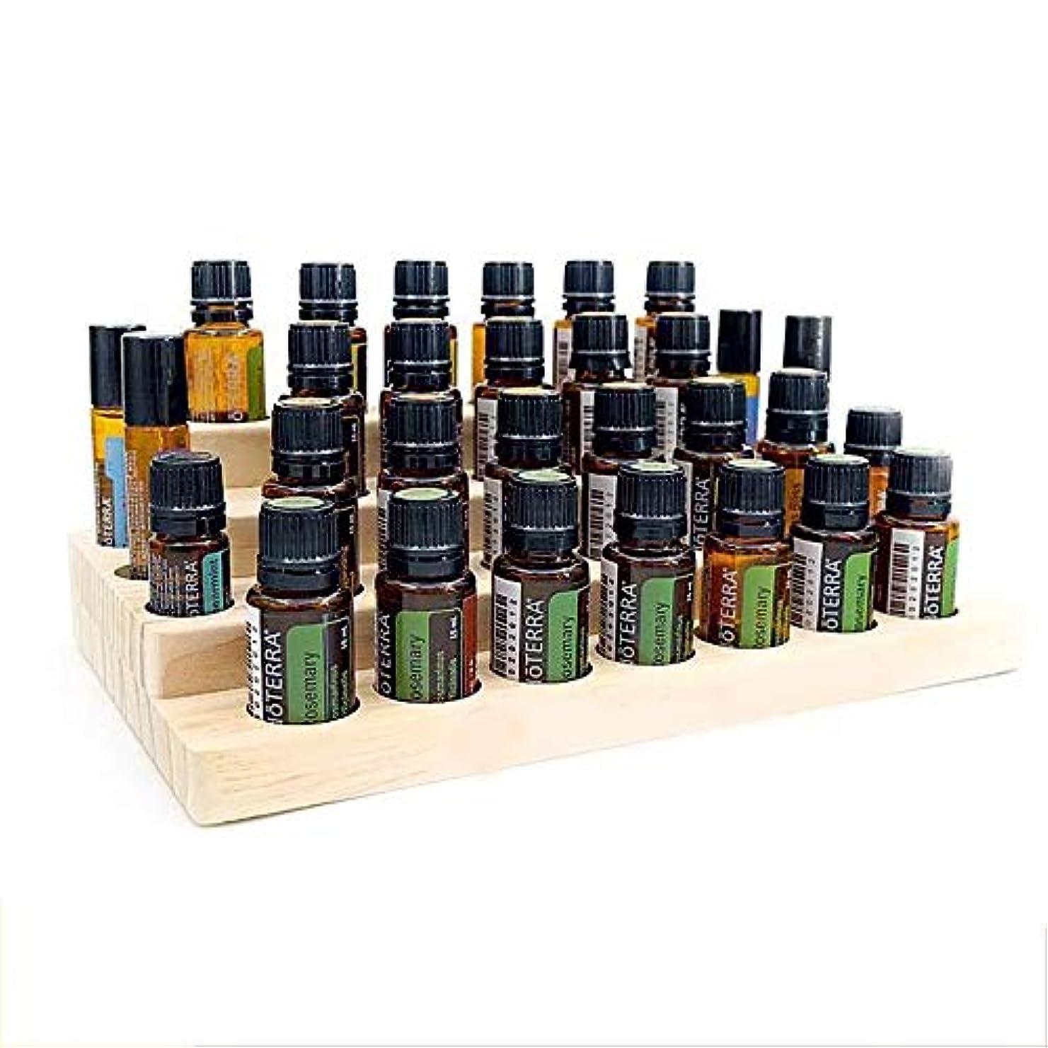 シソーラスリマ出演者30スロット木製エッセンシャルオイル木製ボックス油の収納ケースは、30本のボトルを保持します アロマセラピー製品 (色 : Natural, サイズ : 28.7X16.7X7.8CM)