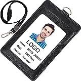Acctrend IDカードホルダー、本革素材、ネックストラップ付き (黑色 1枚)
