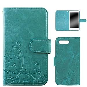 whitenuts iPhone8 Plus ケース 手帳型 エンボスデザイン ターコイズ/百合 カード収納 ストラップホール スタンド機能 WN-OD293164-LL