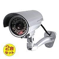 (お得な2台セット)ダミーカメラ 防犯カメラ ボックス型 (OS-169S) シルバー