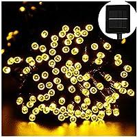 (Lulu LAB) LED イルミネーション 100灯 12m 太陽電池 式 クリスマス イルミ 点灯8パターン 自動ON/OFF (ゴールド)