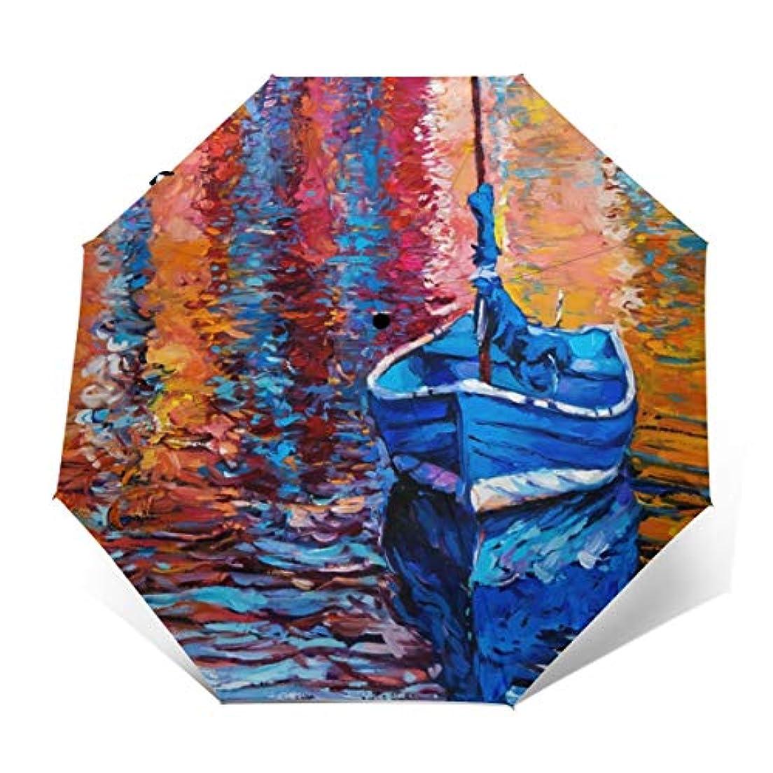 中央値命令勇者釣り帆船のパステルカラーの塗料 折りたたみ傘 日傘 ワンタッチ自動開閉 折り畳み 丈夫な8本骨 3段式 撥水 耐風 晴雨兼用 梅雨対策 UVカット 遮光遮熱 傘袋/収納ポーチ付き