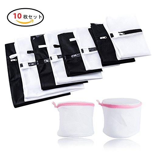 LIFU 洗濯ネット 10枚 ランドリーネット 細かい網目 丁寧な縫製 旅行 収納 最適 角型(大 中 小)+円筒型