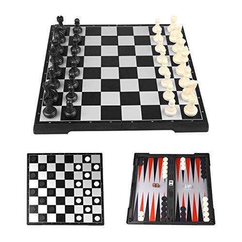 Peradix チェス チェッカー バックギャモン 3種類ゲームセット 本格 チェス盤 折り畳み式 収納ケース型