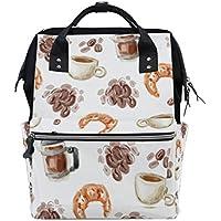 ママバッグ マザーズバッグ リュックサック ハンドバッグ 旅行用 コーヒ 水彩絵 ファション
