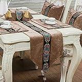 QY テーブルランナー テーブルフラグ 贅沢 コーデュロイ 表 テーブルランナー テーブルクロス テーブルランナー 罰金 刺繍 渦巻き 設計 QY テーブルランナー (Color : A Camel, Size : 33*200cm)