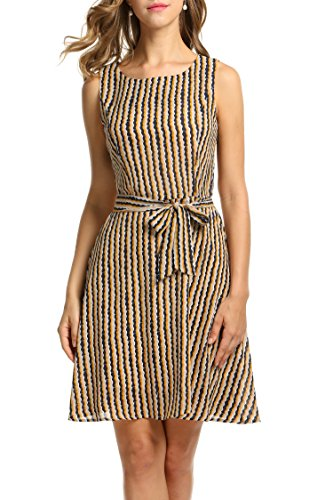 (ジアグー)Zeagoo レディース ワンピース ドレス Aライン ノースリーブ リボンベルト付 シフォン 大きいサイズ対応 49種類