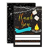 AmandaCreation 裏庭 誕生日 焚き火 キャンプテーマ 男の子用 サンキューノート 10枚 4インチ x 5.5インチ 空白カード 10枚入り 白い封筒