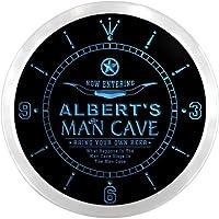 LEDネオンクロック 壁掛け時計 ncpb1899-b ALBERT'S Man Cave Cowboys Beer Bar Pub LED Neon Sign Wall Clock