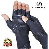 COPPER HEAL Arthritis Compression Gloves - BEST Medical Copper Gloves GUARANTEED to work for Rheumatoid Arthritis, Carpal Tunnel, RSI , Osteoarthritis & Tendonitis - Open Finger (Medium)