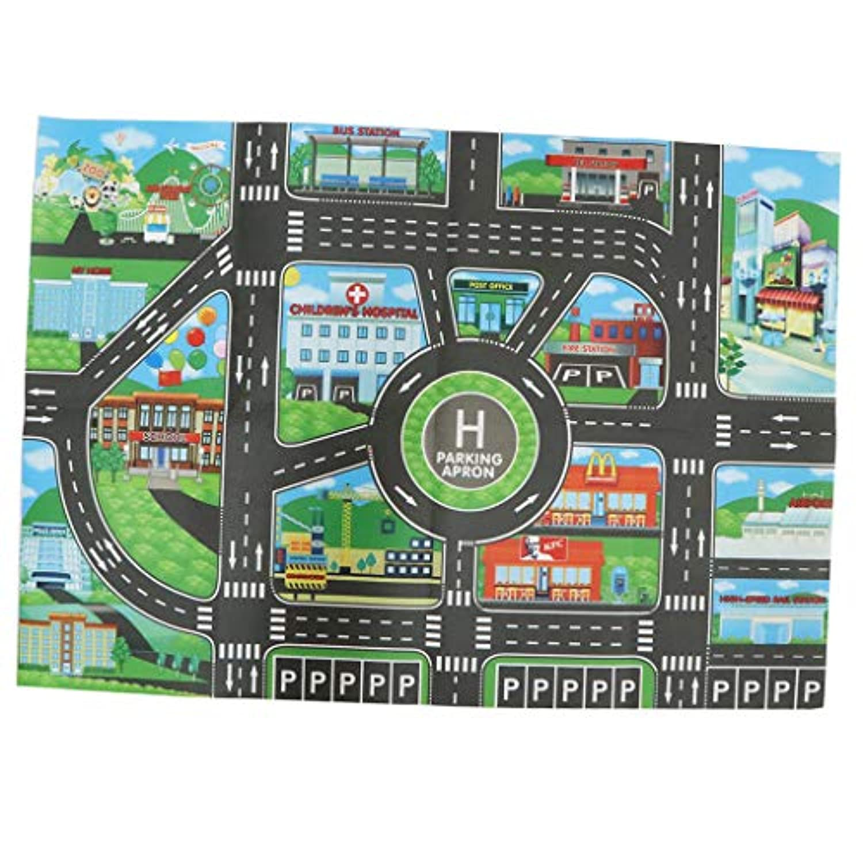 P Prettyia 5色選ぶ 多色 車 トラック 列車 住宅 建設 遊び場 道路地図 マット - 駐車場柄地図#1