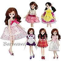 「Barwawa」リカちゃんドール用ドレス  6枚セット=3枚服+3ペア靴 ブライス用ドレス 手作り カジュアル風 人形用ドレス
