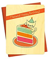 Cake Cat Wood Birthday Card by Night Owl Paper Goods [並行輸入品]