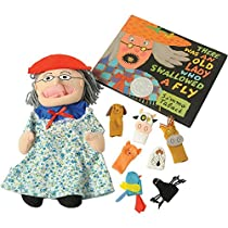 "Old Lady Who Swallowed a Fly"" Puppet & Props Set & Hardcover Book """