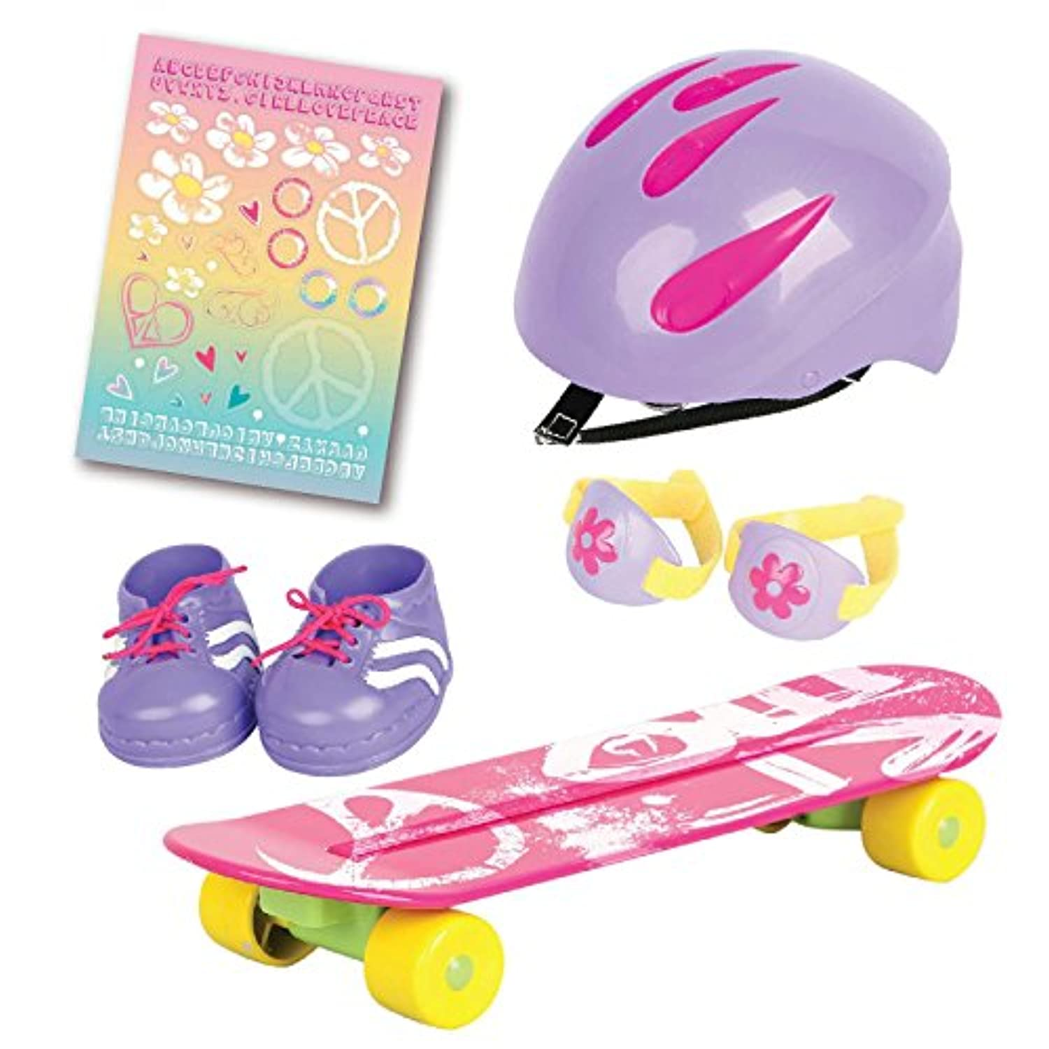 Beverly Hills Doll Collection Super Star HOT PINK Skateboard Set With Protective Gear Accessories, For 18 Inch Dolls
