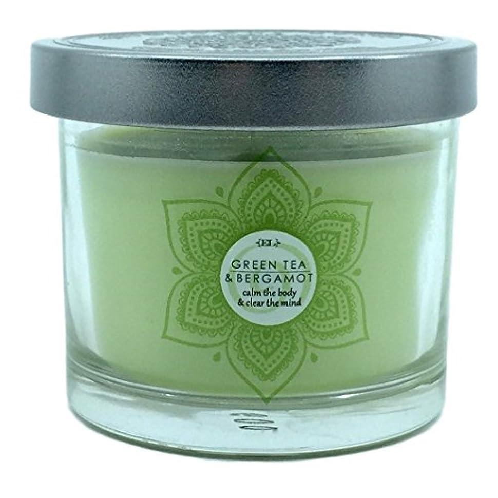 シリンダー反発する体操Small Green TeaベルガモットScented Candle withノートのハーブMoss Citrusレモン