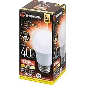 アイリスオーヤマ LED電球 口金直径26mm 広配光 40W形相当 電球色 密閉器具対応 LDA4L-G-4T6
