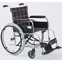 自走式折りたたみ車椅子 リーズ/チェックネイビー(紺) 背面ポケット付き 【MIWA】 ミワ MW-22ST ds-1634668