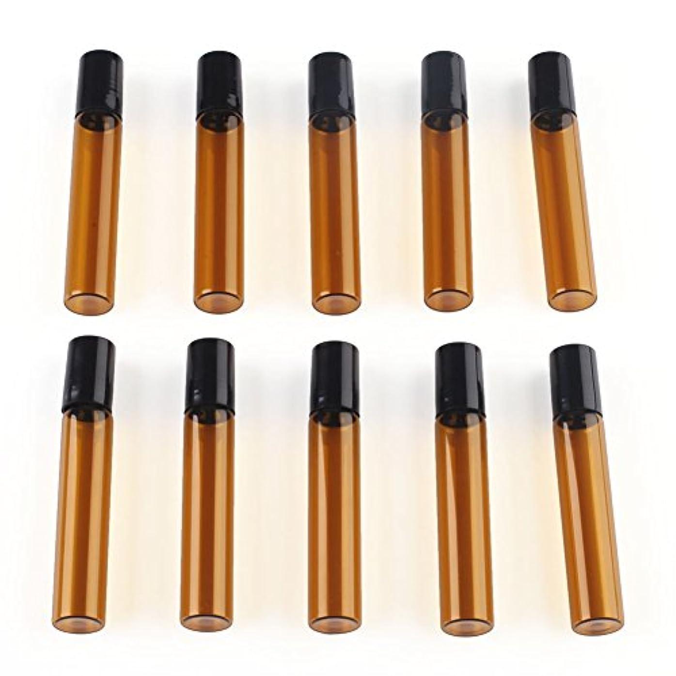 デジタルハッピー地味なSAGULU アロマオイル 精油 小分け用 遮光瓶 遮光ビン ミニガラスアロマボトル エッセンシャルオイル用容器 スチールボールタイプ 5ml、10ml選択可能 アンバー 10本セット (10ml)