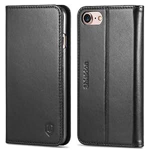 iPhone7 ケース SHIELDON アイフォン7 手帳型ケース 本革カバー カードポケット スタンド機能付き マグネット式 ブラック