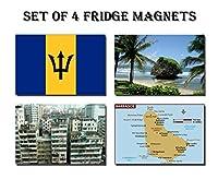 セットの4バルバドス冷蔵庫マグネット冷蔵庫マグネット–Barbados FlagバルバドスマップバルバドスAttractions
