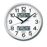 セイコークロック 掛け時計 04:銀色メタリック 01:直径35cm 電波 アナログ カレンダー 温度 湿度 表示 ネクスタイム ZS250S