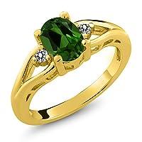 Gem Stone King 1.27カラット 天然 クロムダイオプサイド 天然 ダイヤモンド シルバー925 イエローゴールドコーティング 指輪 リング