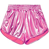 Dorcas Women's Metallic Shorts Elastic Waist Shiny Pants Silver Shorts for Women