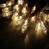 イルミネーションライト led イルミネーション 4M 40LED 写真クリップDIY 壁飾りイルミネーションライト 電池式 ギフト/プレゼント/お祝い/お礼  ウォームホワイト
