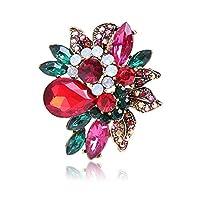 女性用ブローチピン 誇張されたカラフルなブローチクリスタルガラスブローチファインダイヤモンドブローチ デコレーションジュエリー (Color : Red, Size : Free size)