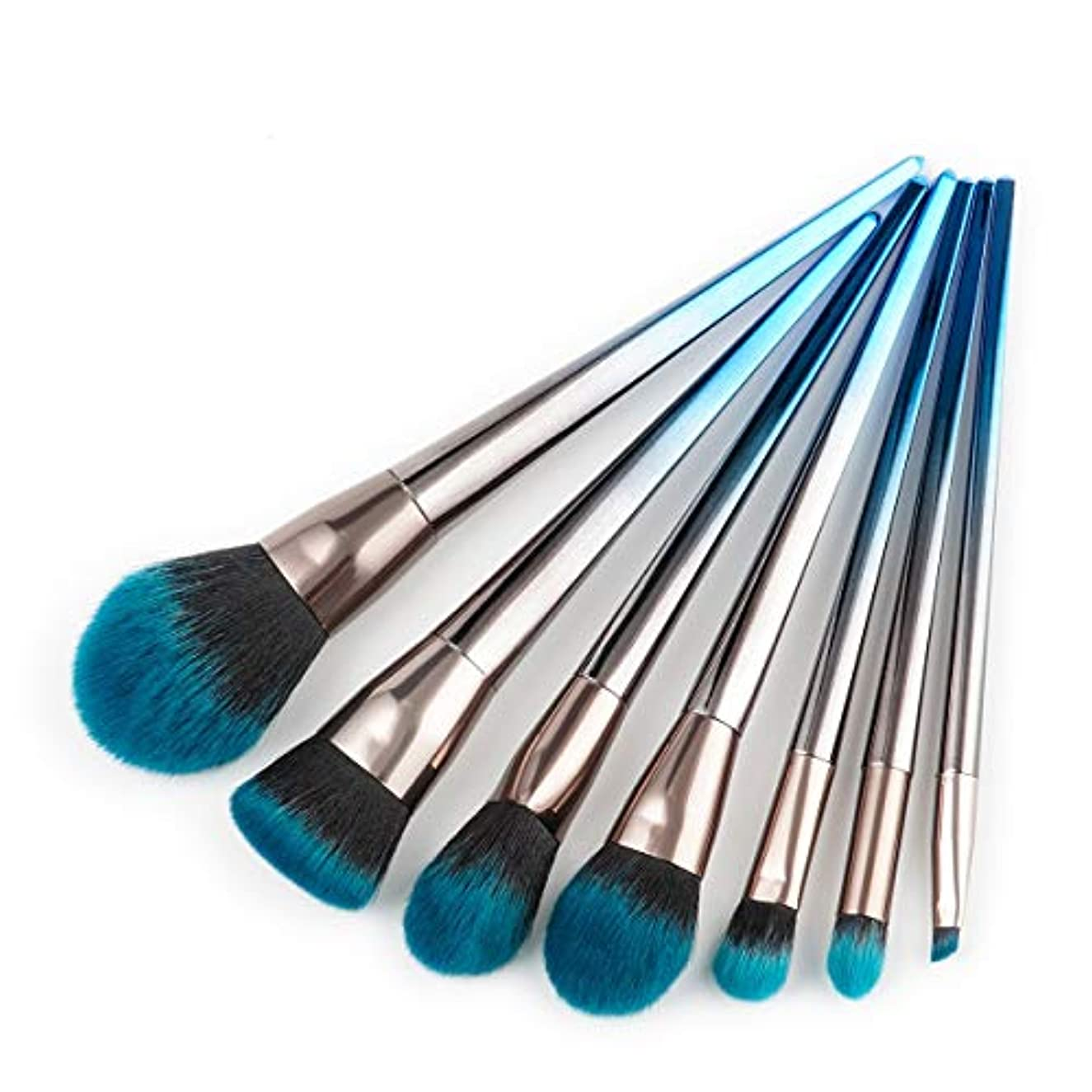 Makeup brushes 7ピースブルーブラックグラデーションメイクブラシセット整形ファンデーション赤面アイシャドウリップブラシフェイシャルメイクアップツール suits (Color : Blue and black...