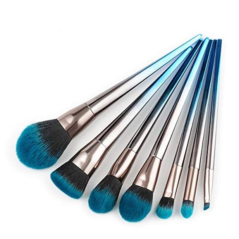 挑発するむしゃむしゃサッカーMakeup brushes 7ピースブルーブラックグラデーションメイクブラシセット整形ファンデーション赤面アイシャドウリップブラシフェイシャルメイクアップツール suits (Color : Blue and black...