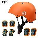 XJD 自転車 ヘルメット こども用 キッズプロテクターセット S:48~54cm 調節可能 超軽量 高剛性 通気性 自転車 サイクリング 保護用 巾着袋付き (オレンジ)