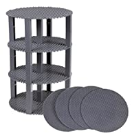 Classic Stackable 8 Circle Baseplate Brik Tower by Strictly Briks | Building Brick Set | 100% Compatible with All Major Brands | 4 Base Plates & 30 Stackers | Gray [並行輸入品]
