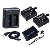 SJCAM SJ4000/SJ5000/M10対応 大容量1100mAhバッテリー2個 デュアルUSB充電器(2個同時充電可能)セット [オリジナルアクセサリ収納袋/保証書付属]