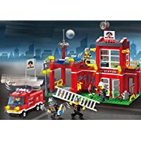 ビルディングブロック 消防署?消防車 910
