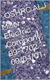 Miller Electric Company; 99-1702  09/04/01 (English Edition)