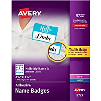 Avery Self-Adhesive Removable Hello My Name is Name Tags Assorted Colors 2-1/3 x 3-3/8 120 Badges (8722) [並行輸入品]
