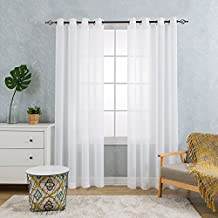 Simple Design but Elegant Sheer Curtains for Living Room Bedroom 2 Panels Sheer Window Curtain with Eyelet 175CM_White