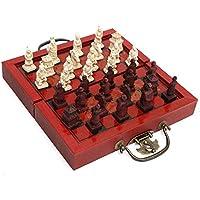 XuBa チェス 木製チェスボード 中国軍のスタイル 国際的な 32個の テラコッタの戦士のチェスの 模造古代の テラコッタの戦士_200×200MM