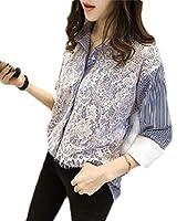 chenshiba-JP 女性花ネクタイポルカドットシフォンブラウスボタンダウンシャツ 12 L