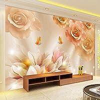 Ljjlm 壁画Hd蝶の愛リビングルームのソファテレビの背景の壁のペーパー家の装飾現代の寝室の装飾壁紙3D-260X180CM