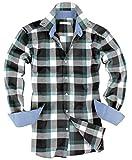 ( UN ANANAS )おしゃれ チェック シャツ 大きいサイズ 長袖 男性 メンズ 秋 冬 カジュアル トップス あったか(グリーンL)