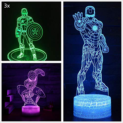 3D LEDイリュージョンナイトライト7色スーパーヒーローアイアンマンスパイダーマンキャプテン