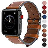 Fullmosa コンパチ Apple Watch バンド ベルト アップルウォッチバンド38mm 42mm Fullmosa apple ウォッチ4(40mm)3 2 1バンド 本革レザー 交換バンド 38mm ライトブラウン+スモーキーグレーバックル